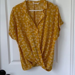 All in Favor Gathered Front Button Top Gold Floral